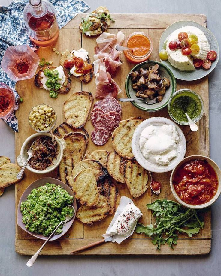 Italian Bruschetta Bar recipie - fresh pea pesto, lots of meats and cheeses, and delicious charred corn.