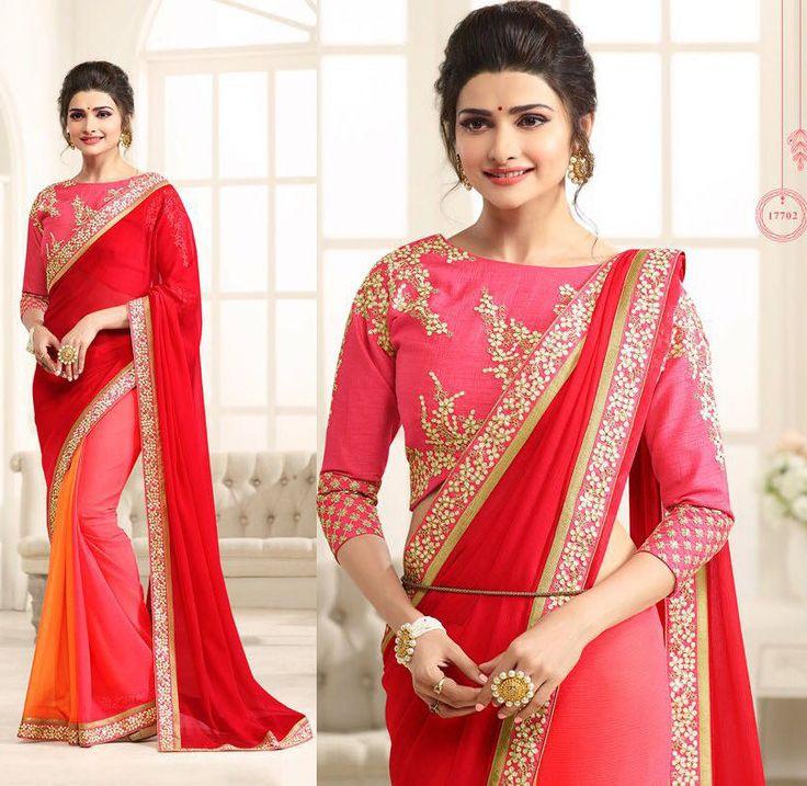 latest bollywood designer indian wedding bridal party Georgette saree sari dress #Shoppingover #Saree