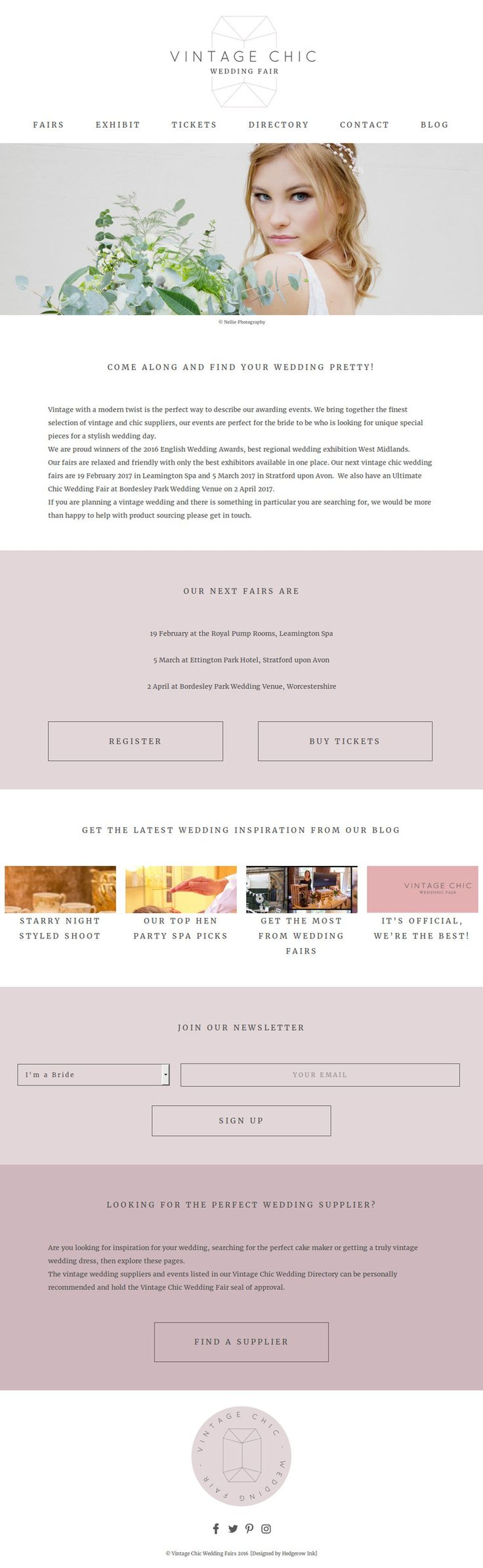 Vintage inspired web design for Vintage Chic Wedding Fair. Wordpress build with dusty blush pink and gem inspired shapes.