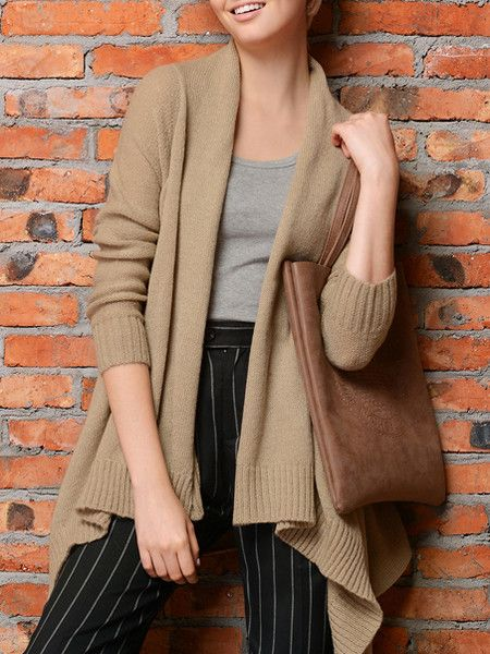 Solid Color Knitting Cardigan