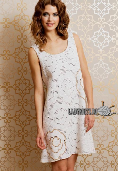 Платье с розами, филейное вязание