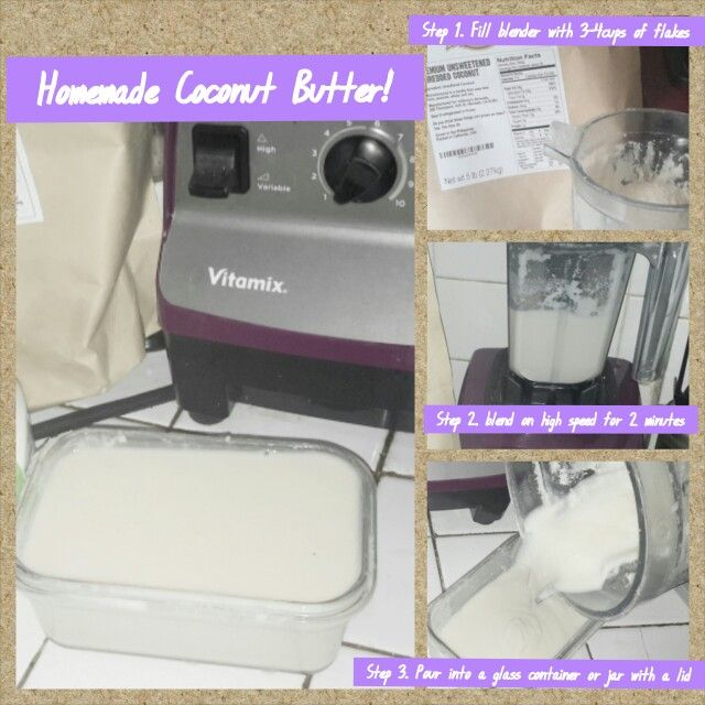 Easy Homemade coconut butter using Vitamix Dry container.