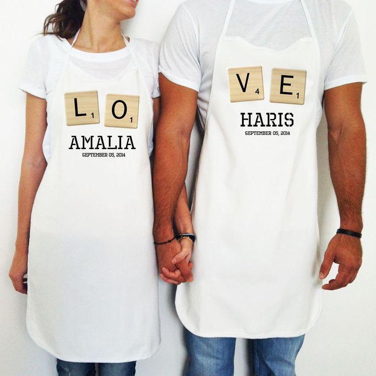 It's a Love Game Apron Set - Σετ ποδιές Scrabble με τα ονόματα σας και την ημερομηνία του γάμου σας ή της επετείου σας.