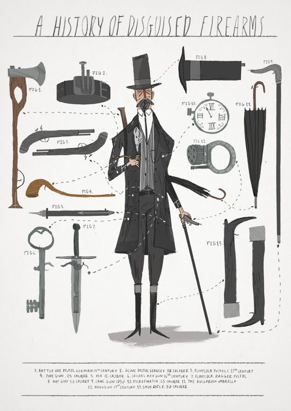 #History of #disguised #firearms by Joe Todd Stanton #illustration #art #infographic #information #graphic