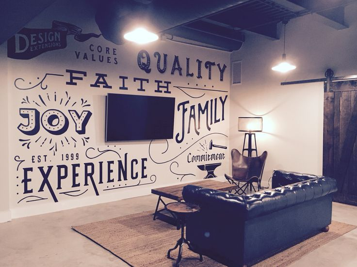 Core values wall and casual office space at Design Extensions in St. Augustine, FL