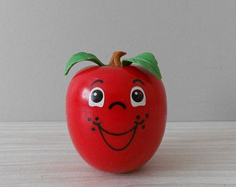 1972 fisher price red happy apple chime ball // roly poly