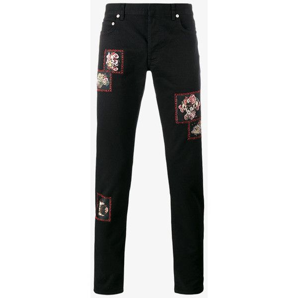 Dior Homme floral patch jeans ($830) ❤ liked on Polyvore featuring men's fashion, men's clothing, men's jeans, mens red jeans and mens patched jeans