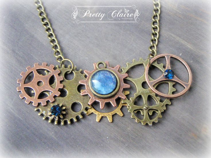Steampunk necklace, steampunk handmade pendant, steampunk jewelry, steampunk gears pendant, elegant steampunk necklace, gears pendant by PrettyClaire on Etsy