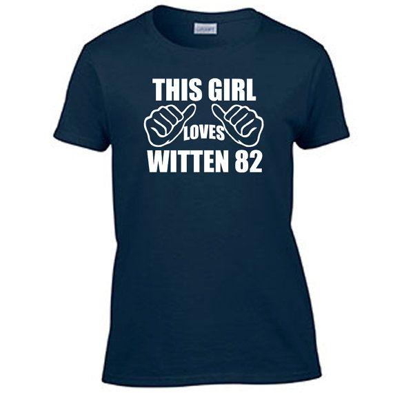 Jason Witten 82 T-Shirt This Girl Loves Womens T Shirt Ladies Graphic Tee Dallas Cowboys  6 oz, 100% cotton preshrunk jersey knit Seamless