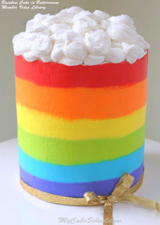 Rainbow Cake in Buttercream- Member Video Library. MyCakeSchool.com Online Cake Decorating videos, tutorials, recipes, & more!