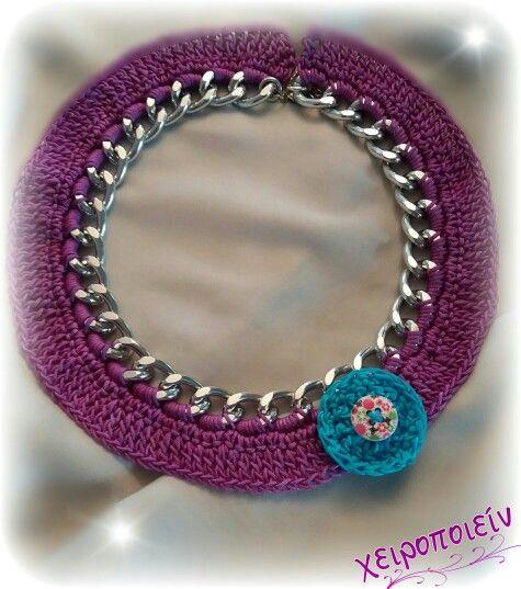 Πλεκτό κολιέ αλυσίδα με βελονάκι  Chroset necklace Χειροποίητα κοσμήματα