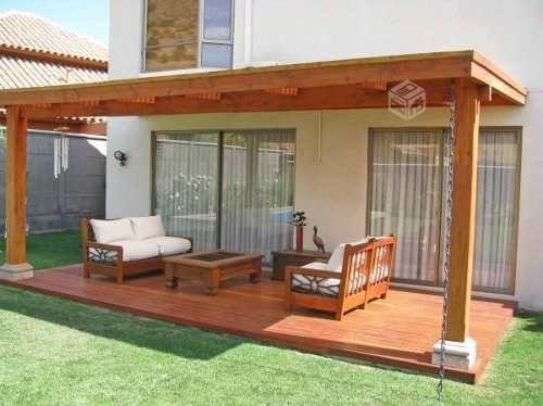Terrazas pergolas loggias en madera pino oreg n y roble for Casas con cobertizos