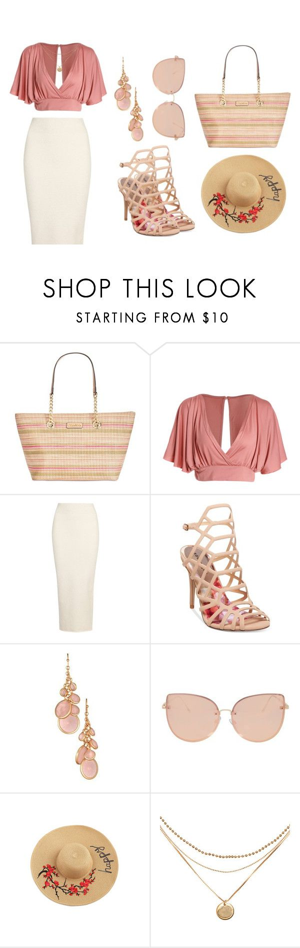 """""""Outfit with Raffia Tote Bag"""" by salbiylaazzara-fashion on Polyvore featuring Calvin Klein, Yeezy by Kanye West, Madden Girl, Avon and Topshop"""