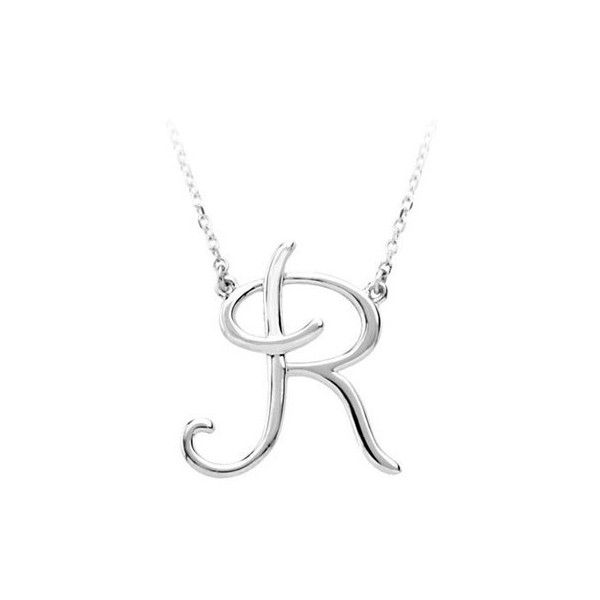 Script Initial R Necklace in Sterling Silver ($40) ❤ liked on Polyvore featuring jewelry, necklaces, silver, long charm necklace, charm necklaces, sterling silver jewelry, letter charm necklace and sterling silver letter charms
