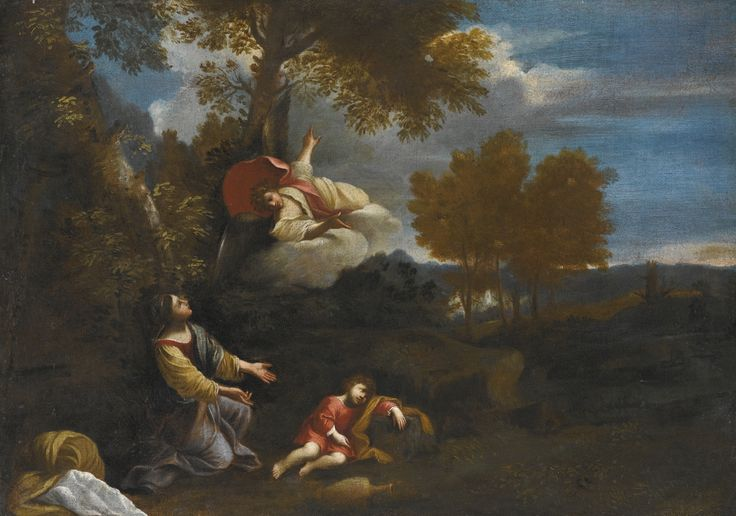 Follower of Pier Francesco Mola THE ANGEL APPEARING TO HAGAR AND ISHMAEL IN A LANDSCAPE oil on canvas, unframed 43.5 by 61.2 cm.; 17 1/8  by 24 1/8  in.: