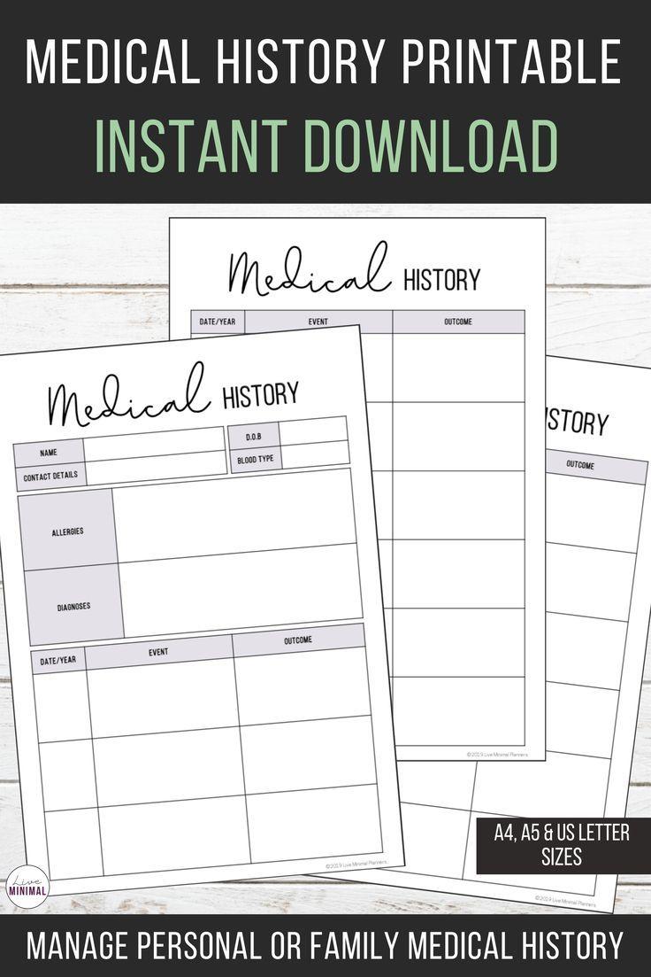 Medical History Chart Printable Health History Printable