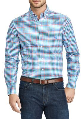 Chaps Men's Big And Tall Checked Stretch Oxford Shirt - Bright Imperial Blue - 2Xlt
