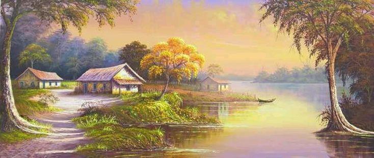 Quadro paisagem por do sol   Tabuleiro das Artes   Elo7