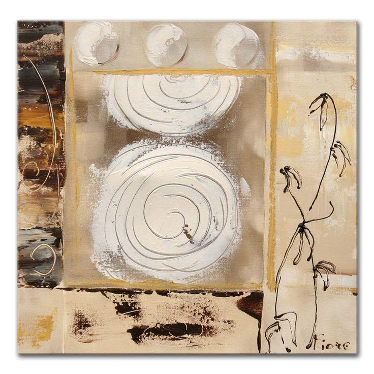 Abstracte schilderijen van Fiore -schilderij in creme met cirkels