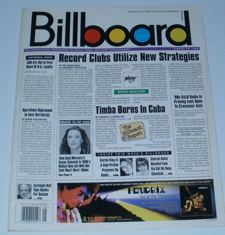 Billboard Magazine Jimi Hendrix Live At The Filmore January 30 1999
