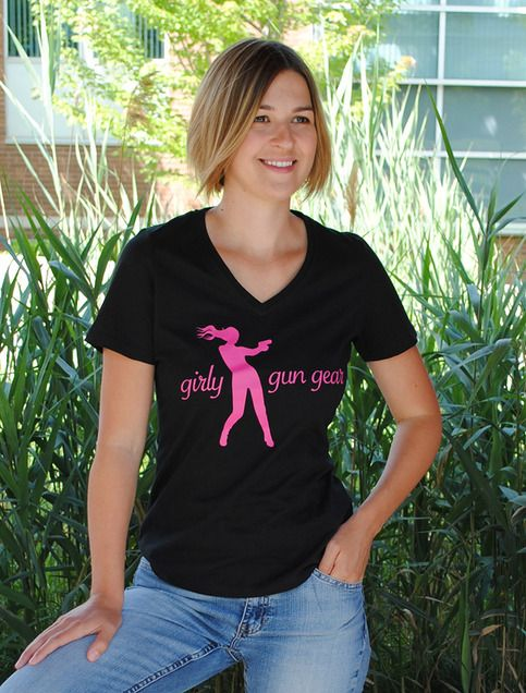 Laid back, versatile and simple this cotton t-shirt has a comfortable relaxed fit.  Features bold Girly Gun Gear graphic, a slightly contoured fit and longer body length for added comfort.     8-oz, 100% combed cotton, 1x1 rib knit collar