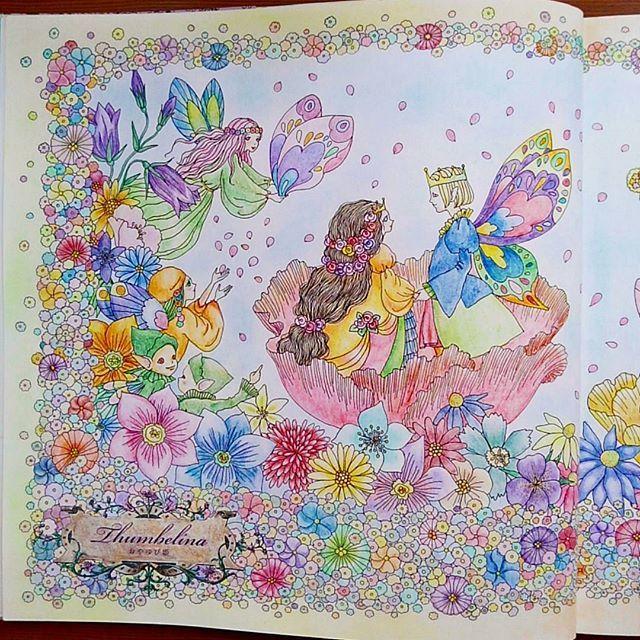 Instagram media woods_rira - The first page update ver.  左ページ。四隅にパステル使いました。 #お姫さまと妖精のぬり絵ブック #花の国の結婚式 #princessesandfairiescoloringbook  #Thumbelina  #coloringbook #coloredpencil  #pastel