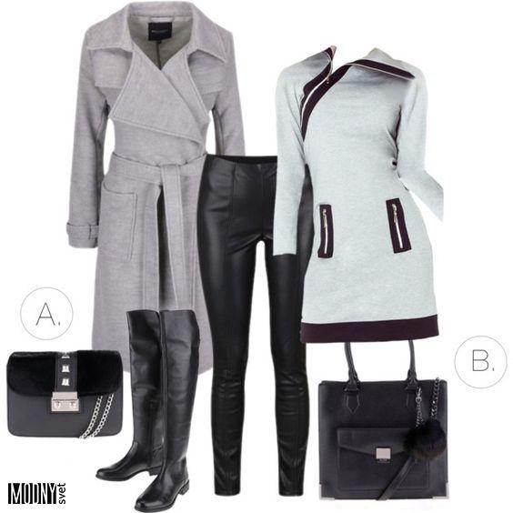 siva kabat saty kozenkove nohavice cizmy nad kolena kozene cierna kabelka