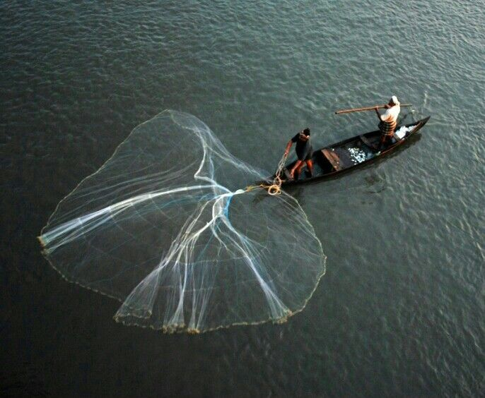 Lake fishing in Kerala