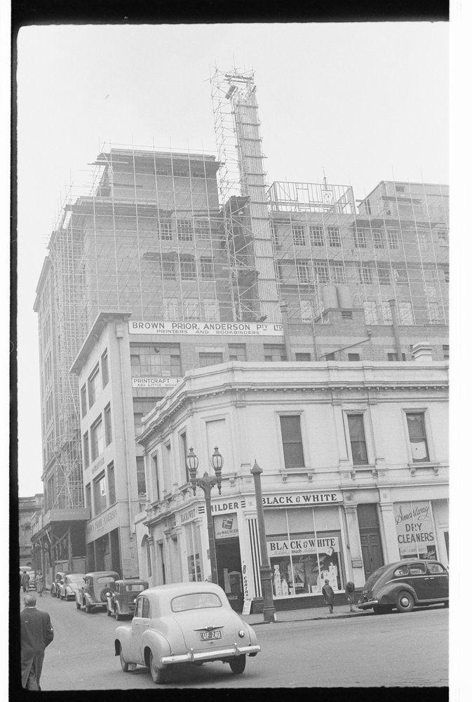 Construction work on building in Little Bourke Street, Melbourne