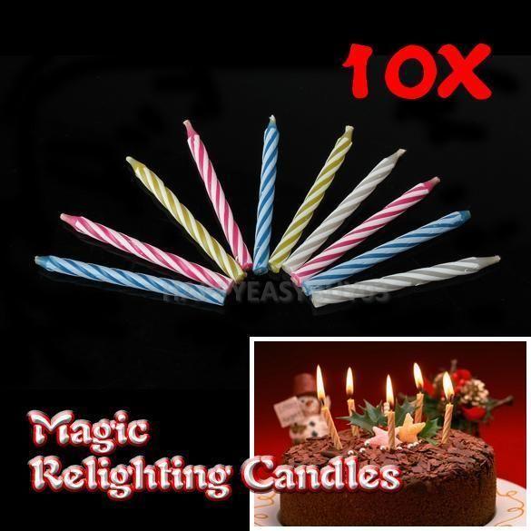 10Pcs Magic Relighting Candles Birthday Party Fun Trick Cake Joke Gift
