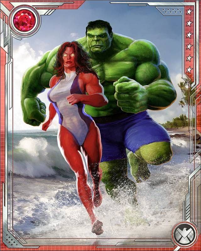 #Hulk #Fan #Art #Card. (Power Couple. Hulk & Red She-Hulk: While they have frequently been at odds in the past, Hulk and Red She-Hulk share a history that goes beyond a mere super heroic team-up. As Bruce and Betty Banner, they are husband and wife.)(THE * 5 * STÅR * ÅWARD * OF: * AW YEAH, IT'S MAJOR ÅWESOMENESS!!!™)[THANK Ü 4 PINNING!!!<·><]<©>ÅÅÅ+(OB4E)   https://s-media-cache-ak0.pinimg.com/564x/27/59/73/275973a77d16e8841580be1be4afe5ad.jpg