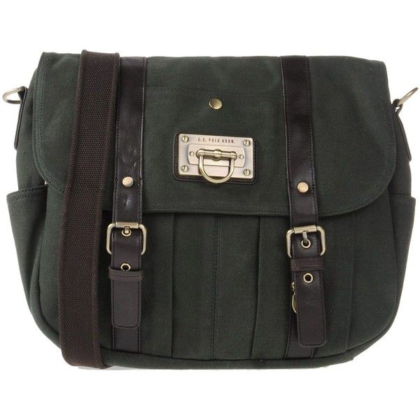 U.s.polo Assn. Cross-body Bag ($43) ❤ liked on Polyvore featuring bags, handbags, shoulder bags, dark green, studded purse, u.s. polo assn., studded handbags, studded crossbody purse and crossbody handbags