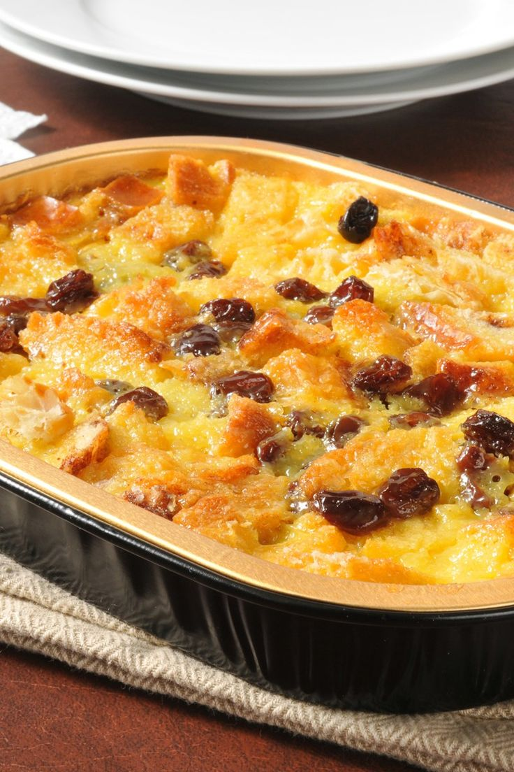 Recipe including course(s): Dessert; and ingredients: bread, butter, cinnamon, egg, milk, raisins, sugar, vanilla extract