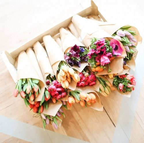Rustic-chic farmers market style wild bouquets for bride + bridesmaids or sweet centrepieces