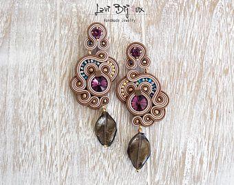Oorbellen-Soutache sieraden-Hand geborduurd Briar