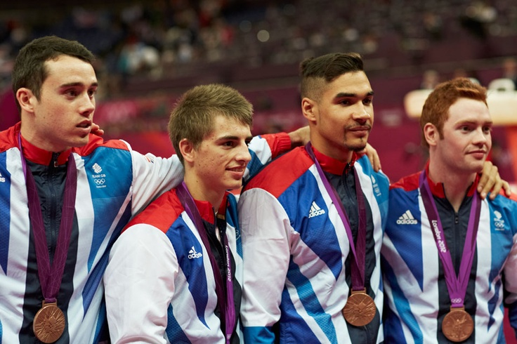 London 2012 - Team GB's Kristian Thomas, Max Whitlock, Louis Smith and Daniel Purvis on the podium after winning the first British men's gymnastics medal for a century.