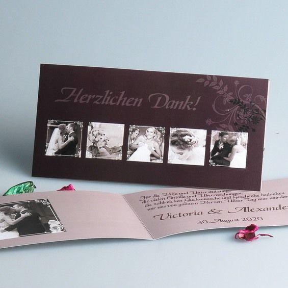 Günstige Einladungskarten Hochzeit Online  Optimalkarten Mit Edelen Blumen  Ornament Foto Hochzeit Danksagung   Farbe: Frei Wählbar Typ:  KlappkarteSeiten: ...
