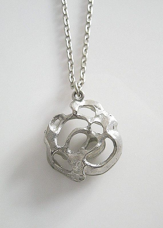 Kalevi Sara (FI), vintage pewter rose modernist necklace, 1970s. #finland | finlandjewelry.com #forsale
