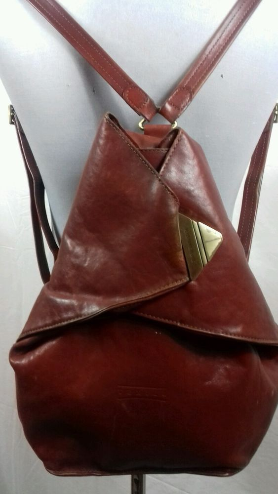 Vintage Texier Womens Tan Brown Leather Backpack Rucksack Shoulder Bag Quality Ebay