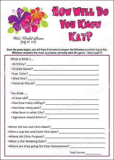 Personalized Luau Bridal Shower Game Cards - How Well Do You Know The Bride - Set of 30