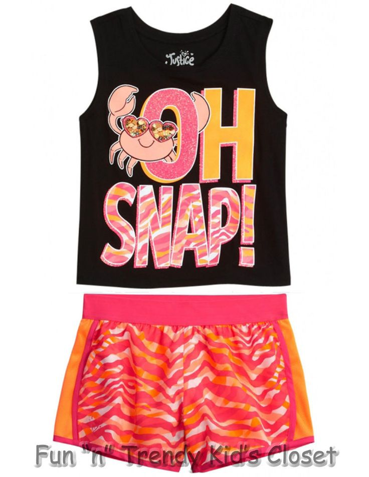 NWT Justice Girls Size 8 or 10 Shorts Sleeveless Tee Shirt Tank Top 2-PC - 130 Best Justice Girls Outfits & Clothes Images On Pinterest