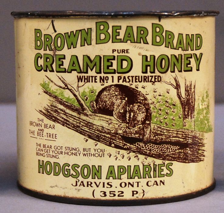 Brown Bear Brand Creamed honey can, circa 1920 from Hodgson Apiaries, Jarvis, Ontario.
