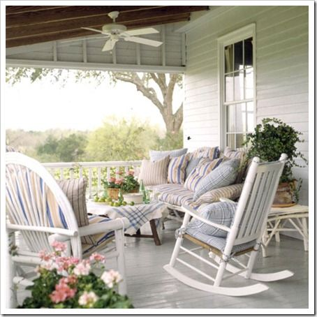 Perfect solution for my porch! Buy mismatched furniture and paint them to match, then make custom cushions and pillows.