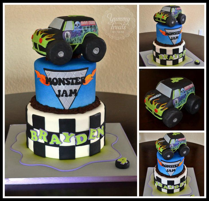 The actual cake was copied from Andreas sweet cakes. I added the Grave digger truck wich was made out of RKT.