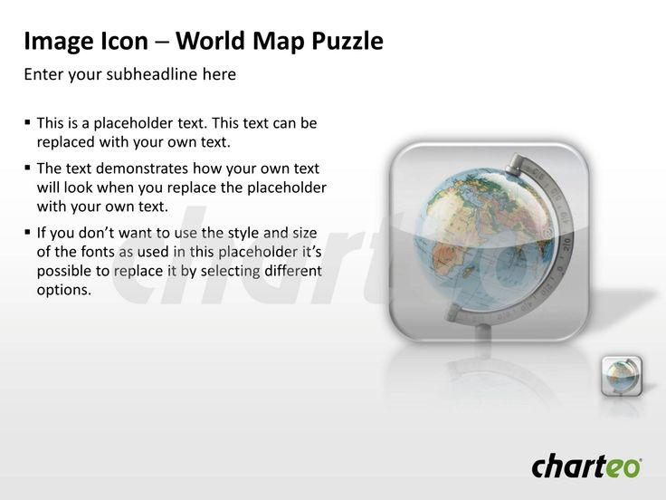 Present international topics in a visually attractive way by making use of our World Map Image Icon for PowerPoint. Download now at http://www.charteo.com/en/PowerPoint/Backgrounds-Images/Photo-Icons/Image-Icon-Globe-Puzzle-2-PowerPoint.html