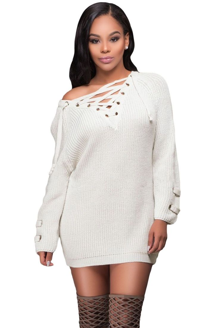 Prix: €19.99 Pull Tricot Manches Longue Femme Hiver Blanche Crisscross Lace up Pas Cher www.modebuy.com @Modebuy #Modebuy #Vert #me #gros #femmes