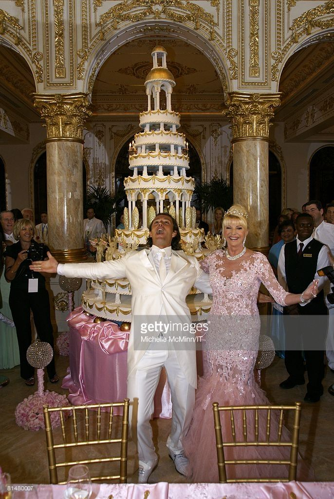 RATES - Rossano Rubicondi and Ivana Trump during their wedding reception at the Mar-a-Lago Club on April 12, 2008 in Palm Beach, Florida. Ivana Trumps jewelry is by Leviev, a diamond bracelet, earrings and necklace totaling 150 carats. Her hair is by Clifford and her make-up by Pablo Rodriguez. Grooms Attire: Dolce & Gabbana. (Photo by Michelle McMinn/Getty Images) Cake: Lambertz of Germany Menu: Menu created by Chef Jeff O'Neill from Mar-a-Lago Club Wines: Chosen by Consultant Alexandra…