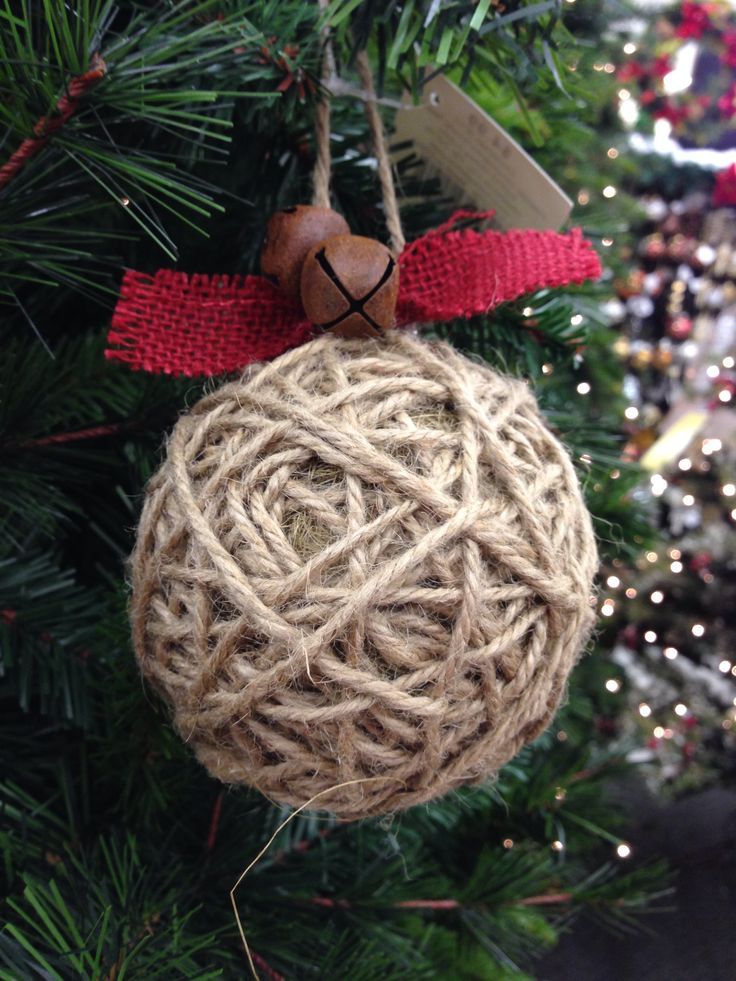 DIY - Jute, burlap, & jingle bell rustic Christmas ornament idea photo. I would wrap the jute around styrofoam ball so not to much weight.