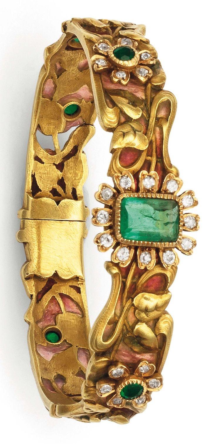 Liberty & Co. - An Art Nouveau gold, plique-à-jour enamel, emerald and diamond bracelet, circa 1910. #Liberty #ArtNouveau #bracelet