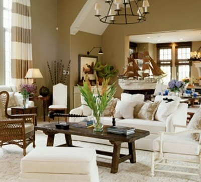 love this taupe color-more gold and less grey. very warm. living room.